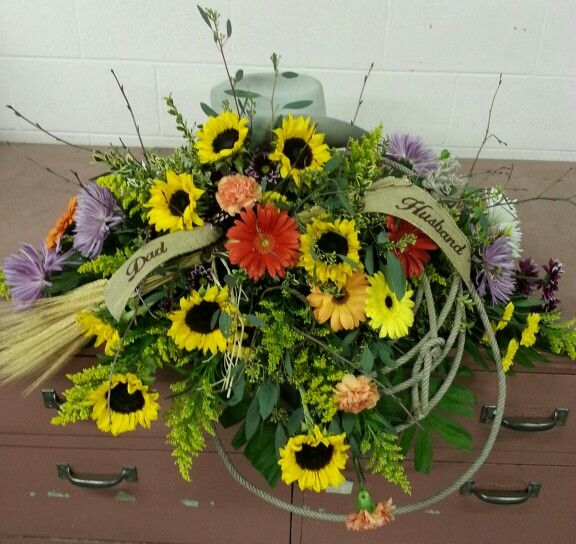 Cowboy Casket Spray With Hat And Lariat Funeral Flowers