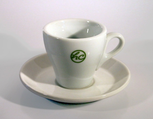 Superb THE HOUSE OF COFFEE    Logo, Classic Italian Tulip Shaped Espresso Cup And  Saucer Good Looking