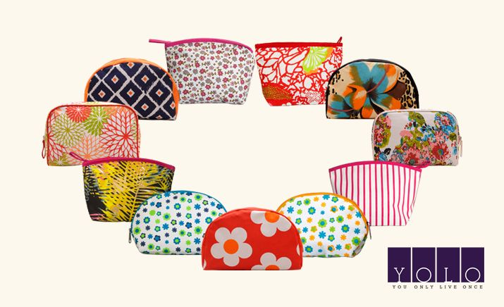 Colorful trendy cosmetic pouches from YOLO