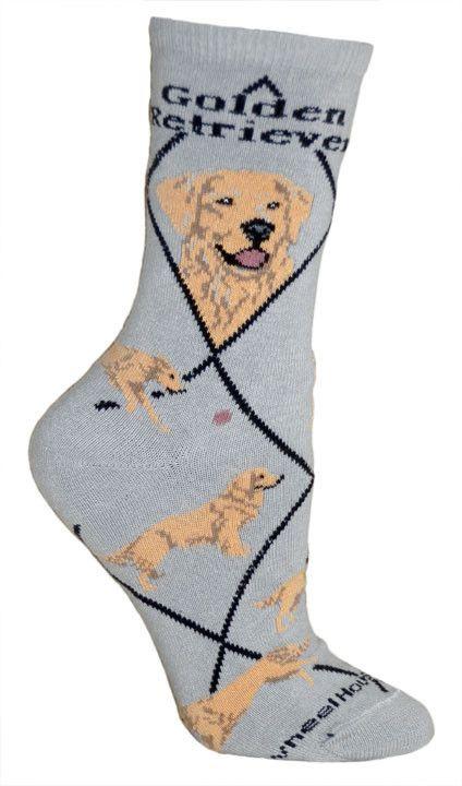 Golden Retriever Dog Breed Novelty Socks Gray