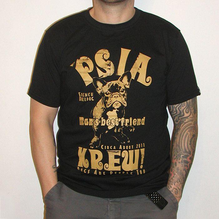 French Bulldog Man's Best Friend hand print T-shirt by PSIAKREW on Etsy