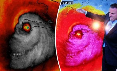 """Uma imagem de satélite captura """"crânio"""" no furacão Matthew, chocando meteorologistas e telespectadores de TV em toda América!!"""