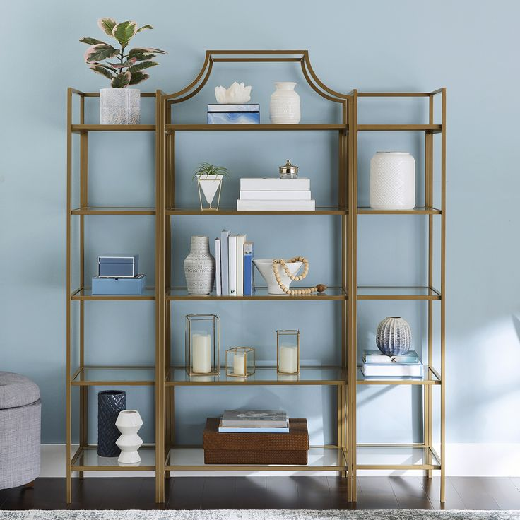 Better homes gardens nola narrow bookcase gold finish