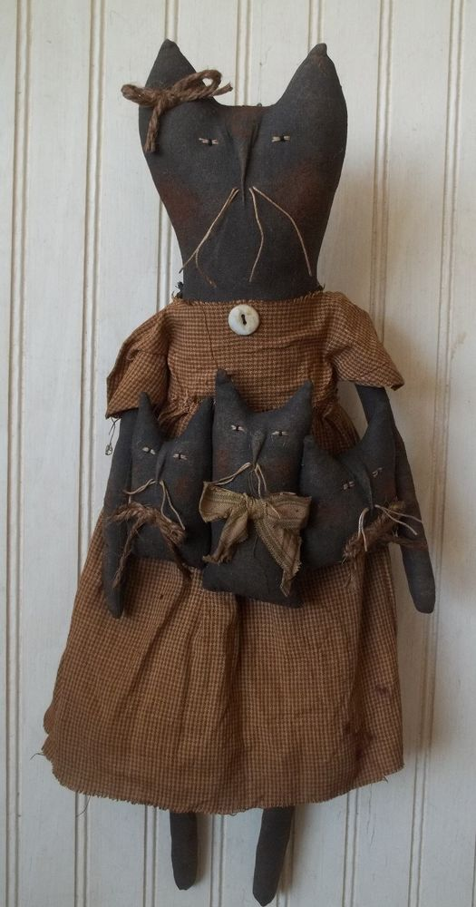 Primitive Grungy Momma Black Kitty Cat Doll with Her Kittens #NaivePrimitive