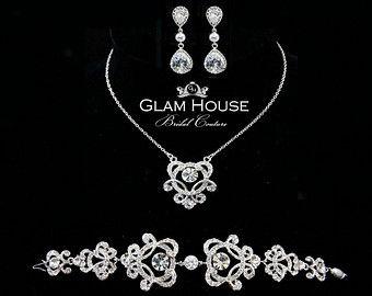 Art Deco bruids sieraden Set-bruiloft ketting set met door GlamHouse