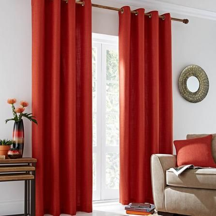 Dunelm Contemporary Draughts Orange Vermont Lined Eyelet Curtains