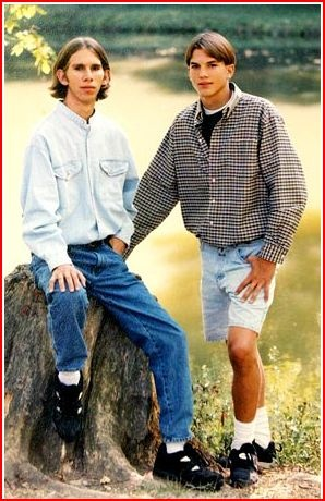 Ashton Kutcher with twin brother Michael~ Sorry Michael. You are doing it wrong.-th