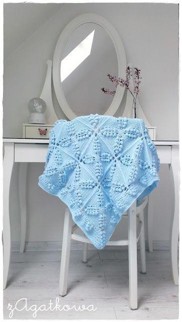 Błękitny kocyk dziecięcy Pastel blue baby blanket