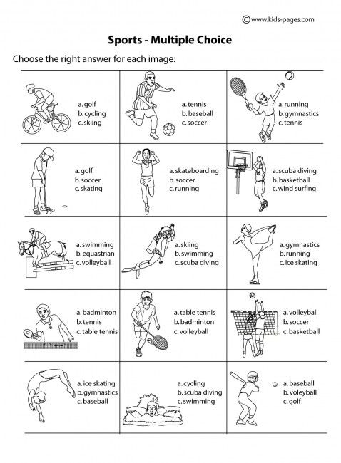 sport worksheets for kids | choice b w worksheet sports index printable worksheet pdf version