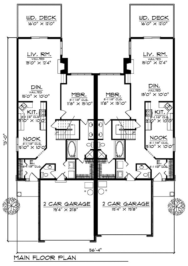 Duplex plan chp 24828 at ideas for for Duplex apartment plans