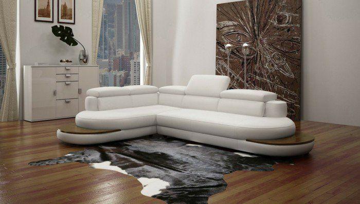 canapé d'angle arrondi en cuir blanc