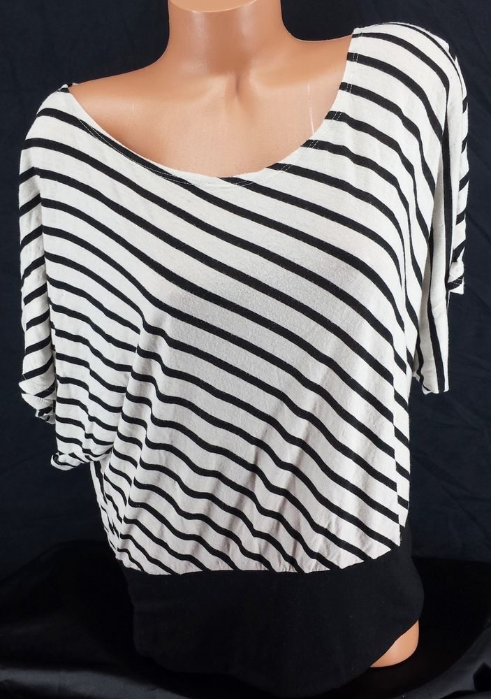 SEXY ROCKABiLLY BLACK & WHiTE SAiLOR STRiPED DOLMAN FiT LAYERiNG SHiRT tOP Sz 1X #Annabelle #KnitTop #Casual