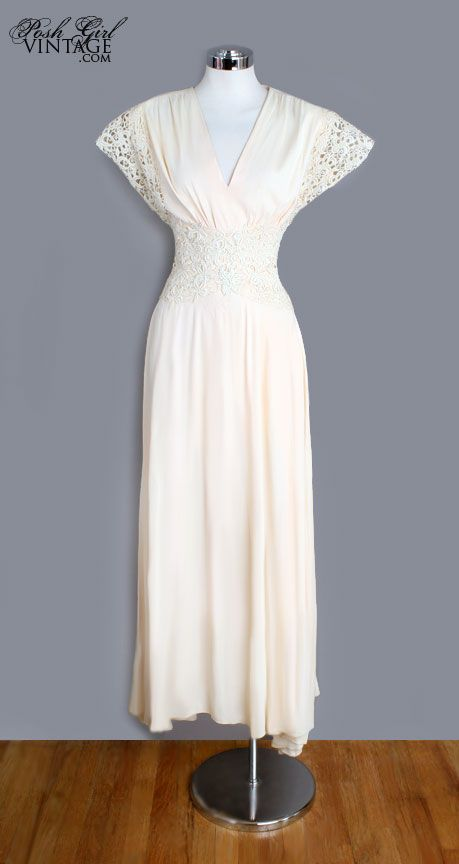 1940's Ivory Long Lace Art Deco Gown - Only $400 bucks and exactly my size.  I think I'm in love but I'd have to order it.  Should I just try it?
