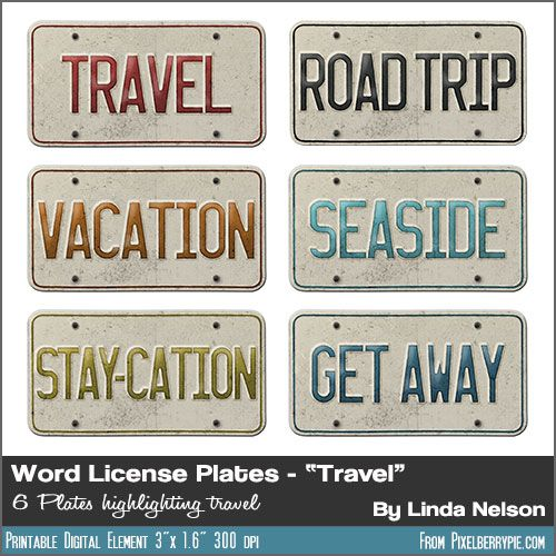 """Free Vintage License Plates TRAVEL Words {""""Vacation"""" """"Road Trip"""" """"Seaside"""" """"Get Away"""" """"Travel"""" """"Stay-Cation"""" ...}"""