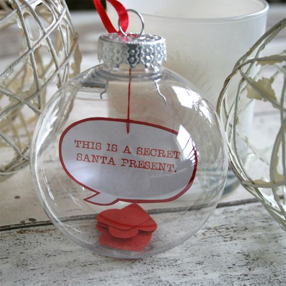 This Is A Secret Santa Present Message in a Bauble Humorous Funny Christmas Decoration Christmas Ball Ornament