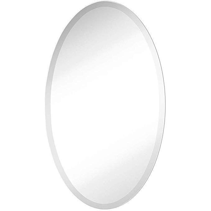Inch Beveled Oval Wall Mirror, Vanity Mirror Frameless Oval