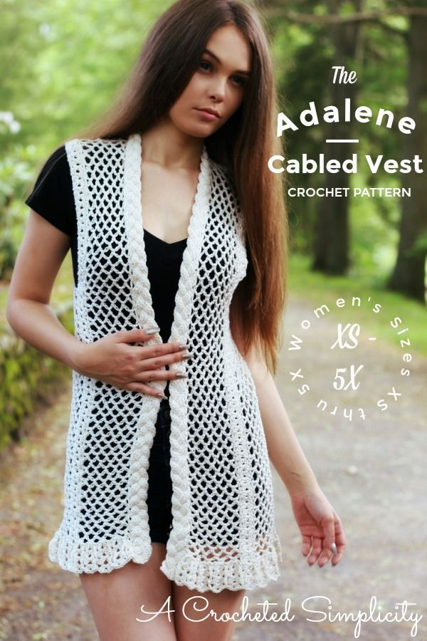 Crochet Pattern: The Adalene Cabled Vest by A Crocheted Simplicity is sized from Women's XS thru 5X and includes 2 fit options!