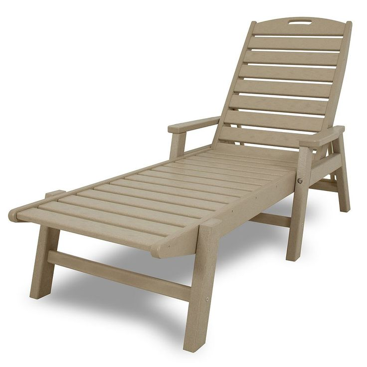 Polywood® Nautical Outdoor Folding Chaise Lounge Chair, Lt Brown