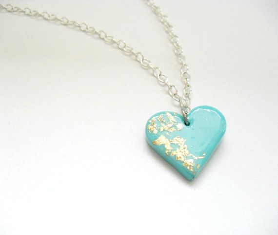 Mint heart pendant Polymer clay jewelry Elegant by DivineDecadance, $20.00
