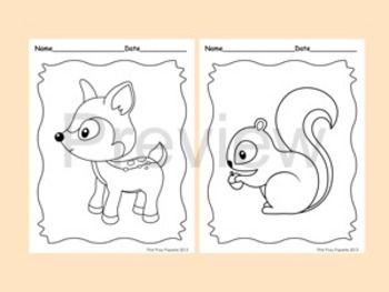woodland forest animals coloring pages 8 designs fox included appliques for babies kids. Black Bedroom Furniture Sets. Home Design Ideas