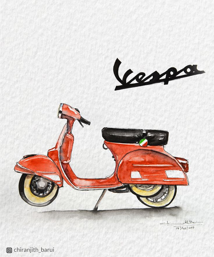 Lets find some beautiful place to get lost #illustration #watercolorpainting #artistsofinstagram #artwork #artdairy #artoftheday #watercolor #watercolorillustration #vespa #italy #art #artsy #instart #red #redscooter #scooter #ink #sakuramicron #classic