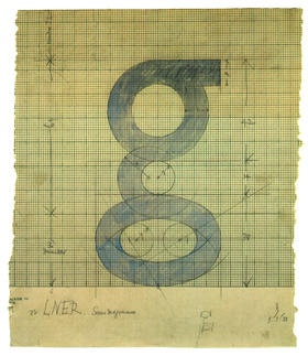 """Eric Gill's sketch for his lowercase Gill Sans """"g"""" (c. 1928)"""