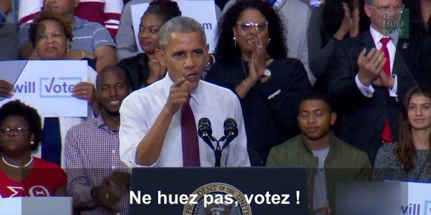Le président américain a fait taire la foule qui huait l'opposant, expliquant qu'il fallait respecter la liberté d'expression et répondre dans les urnes.