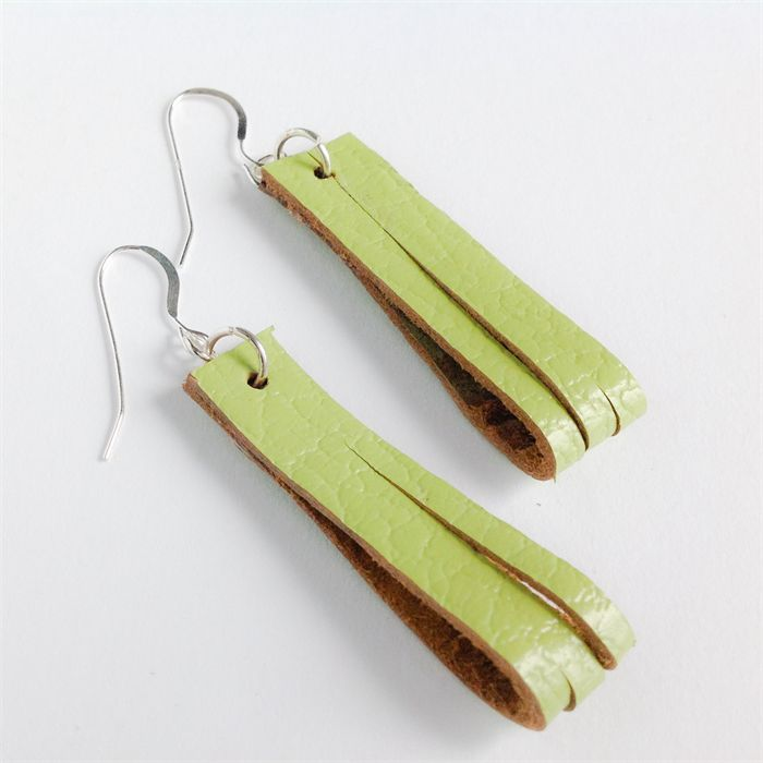 Lime Green leather earrings - recycled leather
