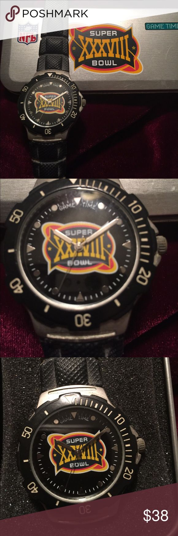 Super Bowl Watch and Case Super Bowl Watch with Case from the XXXVIII Game.   This needs a new battery and probably a Band. This band is stiff and could easily be cleaned up to wear.                  All sales are final. NFL Accessories Watches