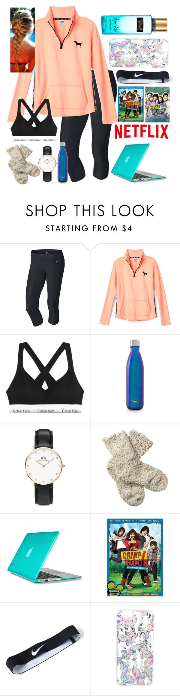 """""""Home sick watching old Disney movies"""" by bowhunter1498702 ❤ liked on Polyvore featuring NIKE, Victoria's Secret PINK, Calvin Klein Underwear, S'well, Daniel Wellington, Fat Face, Speck, Lilly Pulitzer and Victoria's Secret"""