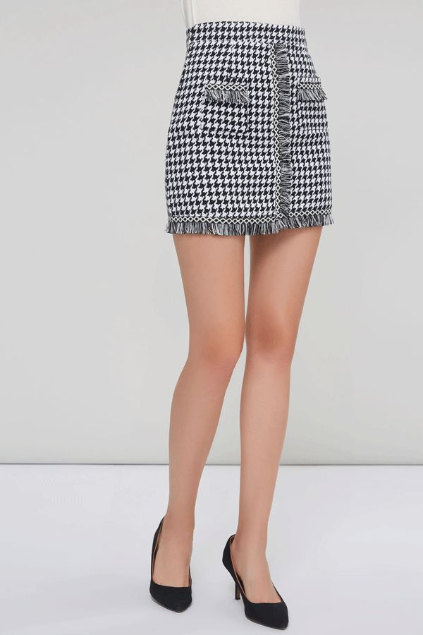 357e9e33d A-Line Print Mini Skirt Fall Houndstooth Women's Skirt.#Skirt#fashion