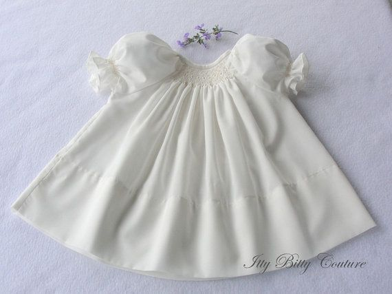 Smocked Baby Dress  Ivory christening gown by ittybittycouture, $56.00