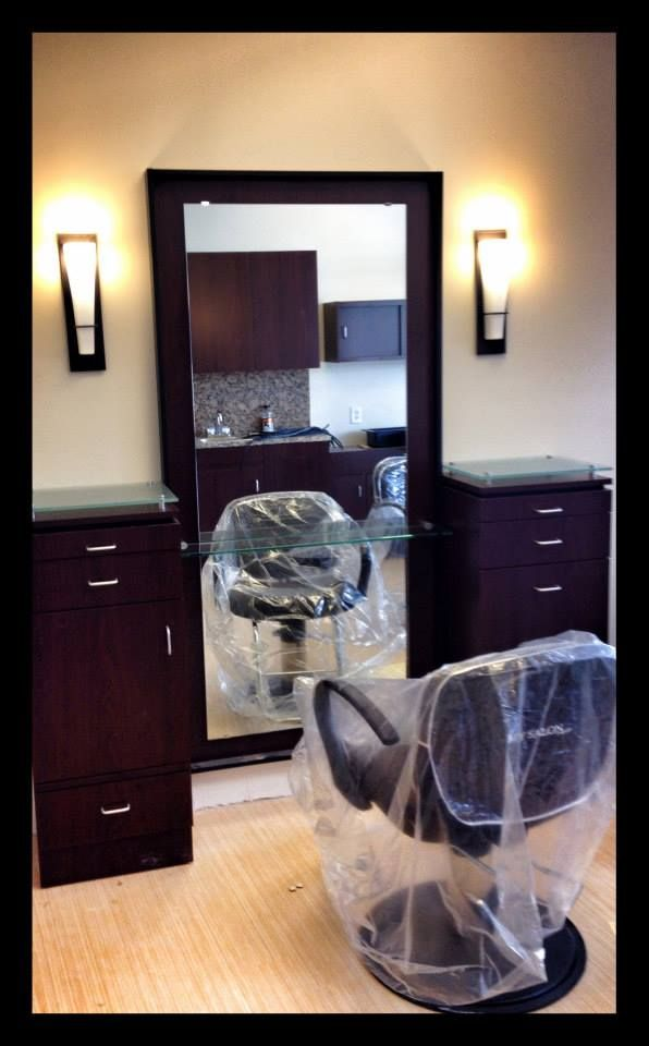 Brand new styling station being installed at MY SALON Suite® of Ft. Lauderdale