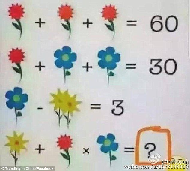 Can you solve this? A maths puzzle that replaces numbers with flowers has created controversy on Facebook