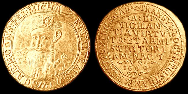 """Wallachia  - Mihai Viteazul/Michael the Brave (1593-1601) """"issued a gold coin with face value of 10 ducats at Sibiu in 1600 (January-March)."""" http://monederomanesti.cimec.ro/mihaiv.htm"""
