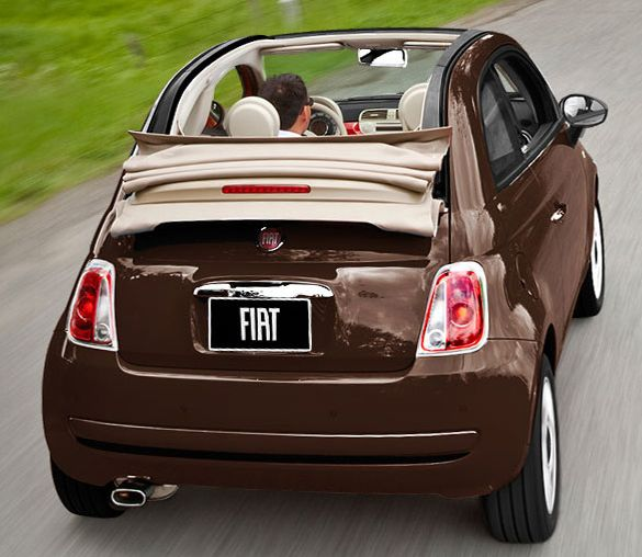 Brown Convertible Fiat -   yummm... chocolate car!