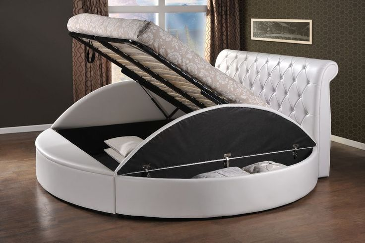 round style storage ottoman gas lift up bed frame luxury