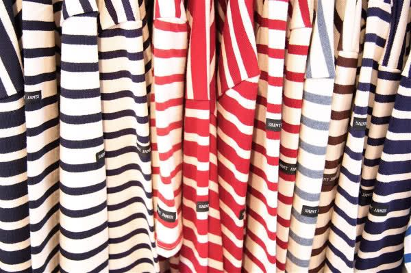 St James striped tees and jumper - red/white & blue/white