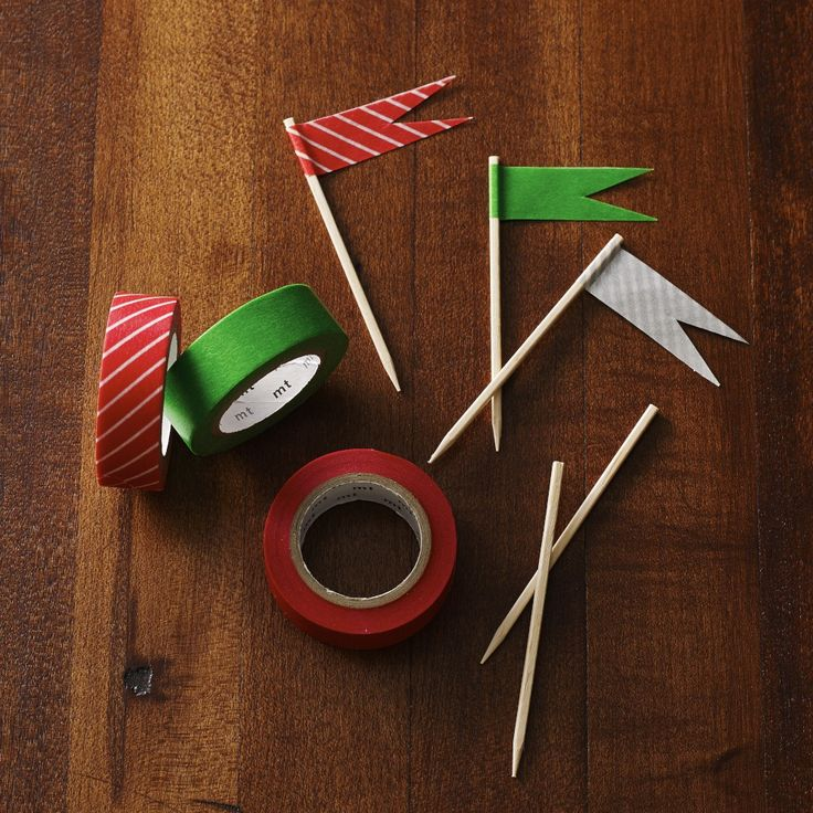 Washi tape adds holiday magic to a plain toothpick