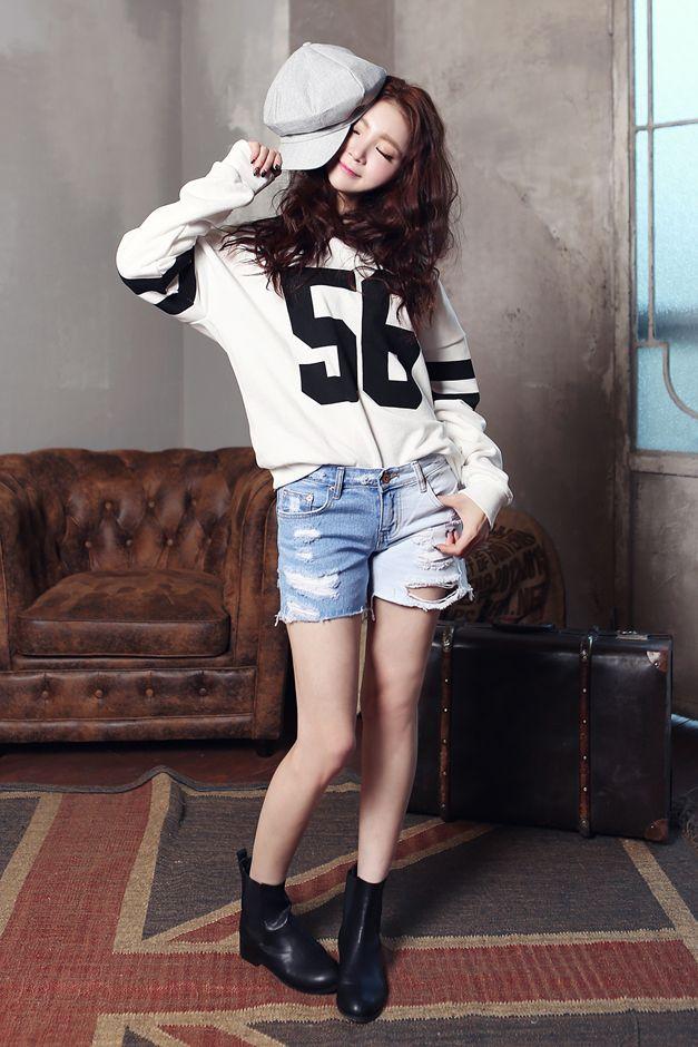 girl korean women fashion outfit style jeans denim shorts