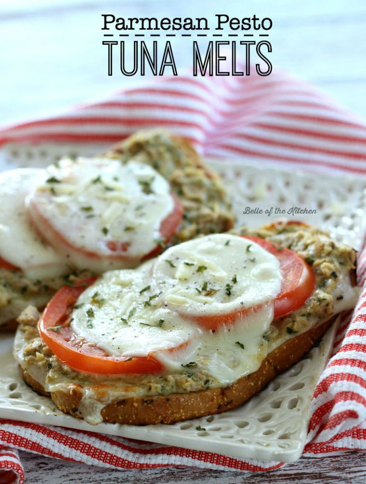 These Parmesan Pesto Tuna Melts are SO delicious! It's an amazing twist on your typical Tuna Melt!