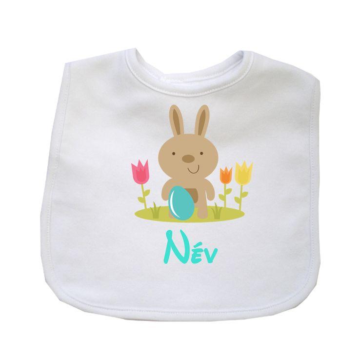 Bármilyen névvel kérhető húsvéti feliratos pamut partedli / előke (f)