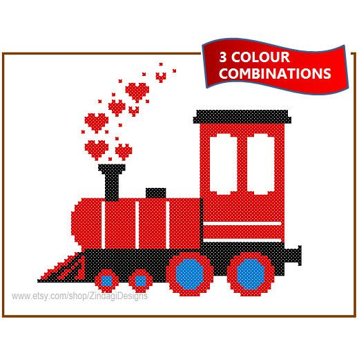Instant Download Train Engine cute Cross Stitch Pattern 3 colour combinations red blue yellow green wall sweater dress transport great gift by ZindagiDesigns on Etsy https://www.etsy.com/listing/173882791/instant-download-train-engine-cute-cross