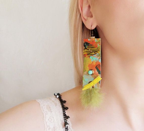 Contemporary abstract paper earrings in green and orange with feathers Super long hand painted earrings Funky fashion bold dangle earrings