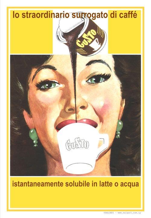 CAFFÉ GUSTO-Milano 1954.                                                                                                                                                                           El extraordinario sucedáneo del café. Instantáneamente soluble en agua o leche.                                                                                                                                                   Autor: anónimo.