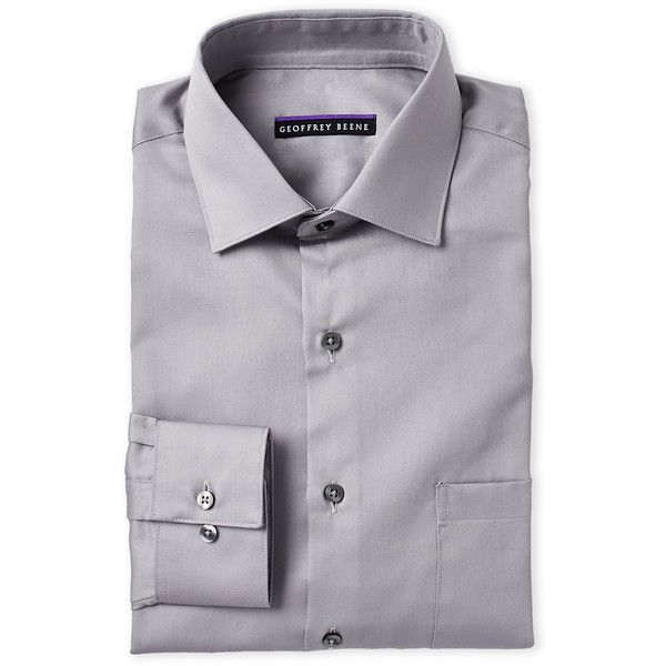 Geoffrey Beene Gunmetal Sateen Classic Fit Dress Shirt ($15) ❤ liked on Polyvore featuring men's fashion, men's clothing, men's shirts, men's dress shirts, grey, mens long sleeve dress shirts, mens fitted dress shirts, men's wrinkle free dress shirts, mens classic fit shirts and geoffrey beene mens dress shirts
