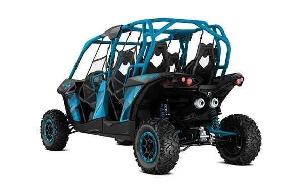 """New 2016 Can-Am Maverickâ""""¢ MAX X® ds 1000R - Black & Octane Blue ATVs For Sale in Missouri. This package enables you to lead the pack with the most powerful four-seater sport side-by-side in the industry. Its 131-hp turbocharged engine option leads the way, and its rider-focused design and impressive handling provide a comfortable and confident ride.Highlights 101-hp Rotax® 1000R V-twin engine with high-flow dynamics Tri-Mode Dynamic Power Steering (DPS) Visco-Lok® QE auto-locking front…"""