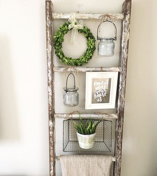 25+ best ideas about Wooden Ladder Decor on Pinterest   Wooden ladders, Ladders and Old wooden