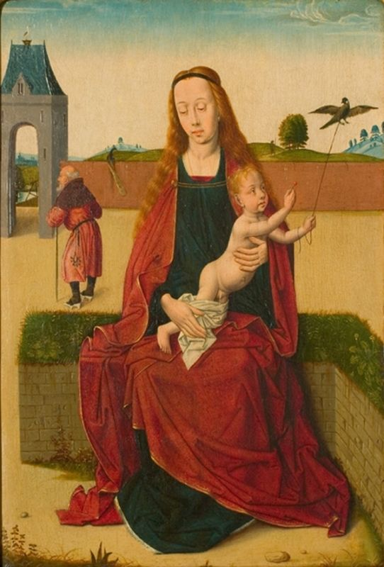 Madonna and Child on a grass bench - Dirk Bouts