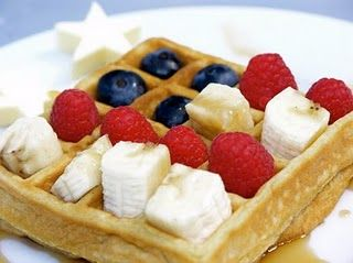 Fun 4th of July breakfast!! Whole wheat waffle, drizzle over fruit with a little honey or pure maple syrup~Yummy!